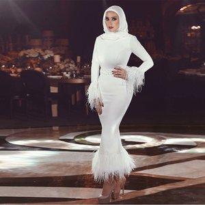 Elegante vaina blanca de plumas Vestidos de noche Longitud del tobillo Cinturón Mulim Vestido formal Columna de satén Vestido de noche Abric Dubai