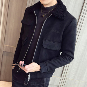Uomo risvolto del collo del cappotto invernale Slim Fit Big Pocket caldo Giacche Maschio Pure Color Zipper Coats
