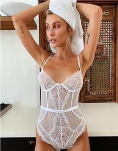 Bodysuits Sexy Lace malha Halter macacãozinho Sólidos ver através baixos Bossom magros Macacões Womens cintura alta