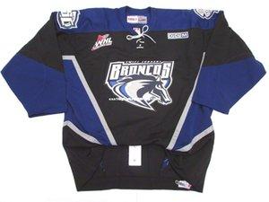 barato costume SWIFT CURRENT BRONCOS WHL PRETO PRO CCM hockey jersey ponto adicionar qualquer número qualquer nome Mens Hockey Jersey XS-6XL