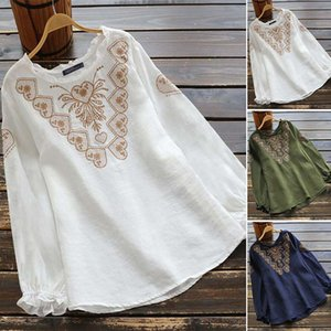 Plus Size Stylish Floral Tunic Women's Spring Blouse 2020 ZANZEA Casual Long Sleeve Blusas Female Embroidery Shirts Tops S-5XL
