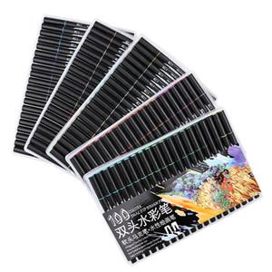 60/72/100 Color Dual Tips Brush Pen Set Water Based Ink Brush Marker для рисования живопись акварель маркер школьные принадлежности T200416
