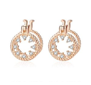 SCE697 Fashion Rose Gold Plated Cz Zircon Stone 925 Silver Round Stud Earrings Women Girls Jewelry