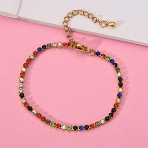 12pcs set New Multicolor Crystal Stainless Steel Bracelet Shiny Cubic Zircon Tennis Chains Bracelets Women Girls Fashion Jewelry