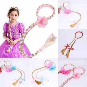 Reino Unido Cosplay Rubio teje la trenza de Rapunzel Princesa enredado pelo de la venda de chicas peluca diadema de princesa Girls niños pelo del aro trenzado