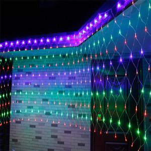 Llevó la luz de 110v 220v cadena de fiesta de la boda lightWARM BLANCO RGBY de Navidad lámpara neta decoración de hadas del centelleo