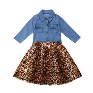 2019 leopardo Nueva muchachas del otoño trajes de la camisa del bebé embroma Denim Top + Skirt paraguas la línea vestido de ropa fijaron el equipo