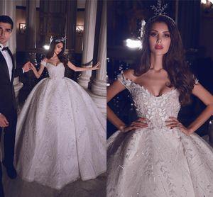 De lujo de los vestidos de Shouder moldeada cristalina de la bola del vestido de boda de la vendimia Appliqued cordón princesa más el tamaño de vestido de novia de Dubai