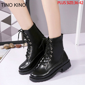 TINO KINO Women Platform Autumn Ankle Boots Ladies Lace Up Fashion Punk Motorcycle Shoes Female Thick Middle Heels Plus Size T200425