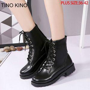Zapatos Moda Hasta TINO KINO Mujeres Plataforma otoño las botas del tobillo del cordón de las señoras de la motocicleta punk Tacones Mujer grueso Media Plus Tamaño T200425