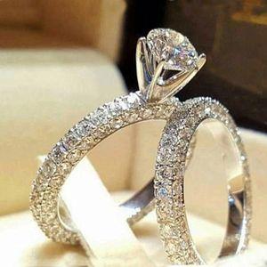 연인을위한 스테인레스 스틸 결혼 반지 IP 실버 컬러 크리스탈 커플 반지 세트 남자 여자 결혼 결혼 반지