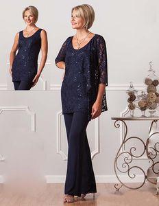 Bleu marine dentelle Pantalons costumes pour la mère de la mariée Scoop décolleté pailleté Ursula robes de soirée de mariage pour les mères Robe Invité