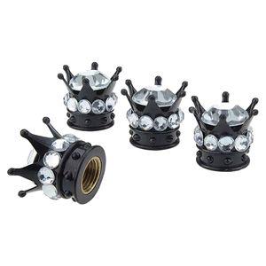 4x Mini Bling Crown Chrome Tire Valve Stem Caps Rhinestone Tire Caps for Car Motor (Clear)