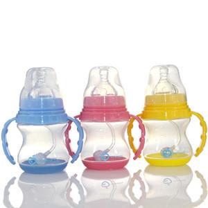 150ml Cute Baby bottle Infant Newborn Children Learn Feeding Drinking Handle Bottle Kids Straw Juice Water Bottles Training Cup
