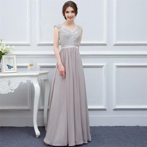 Capped Sweetheart Chiffon Bridesmaid Dresses with Appliques 2019 Sheer Back Long Evening Gowns Floor Length Party Dress