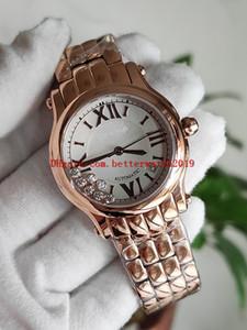 Top NR Happy Sport 33MM 274808 reloj de señoras del diamante perla de ETA2892 automática 28800vph para mujer de marcación móvil de oro rosa de cuarzo Relojes calientes