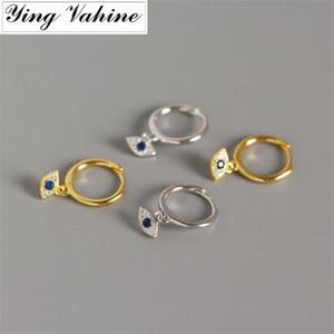 ying Vahine New Arrival Mal Olhos Brinco 100% 925 Prata Mini Zircon Olhos Azuis pequeno pingente de brincos para mulheres