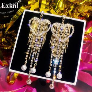 Exknl lange Quaste Goldfarbe Liebe Korean Ohrringe Frauen-Partei-Statement Earing Art und Weise Big Schmuck Ohrringe für Frauen