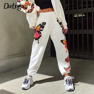 Darlingaga Streetwear Kelebek Baskılı Sweatpants Kadınlar Yüksek Bel Pantolon Baghee Moda Koşucular Elastik Kadın Pantolon Sweatpants T200622