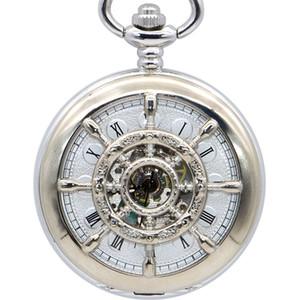 En Vintage Mekanik Pocket Saat Paslanmaz Çelik Tasarım Çift El Fob Zinciri PJX1383 ile Sarma