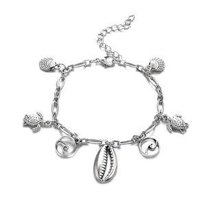 Étoiles de mer carapace de tortue tortues vagues conque cheville la vague forme gland cheville mode plage cheville bracelet