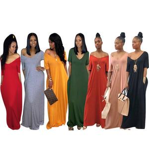 Women Long Dress Solid Pocket Women Solid Long Maxi Dress V Neck Pocket Short Sleeve Loose Solid Dresses Plus Size