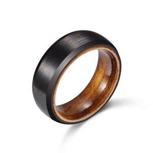 Wedding Band de Carvort 8 milímetros Preto Tungsten Anel acabamento fosco Homens com madeira de manga