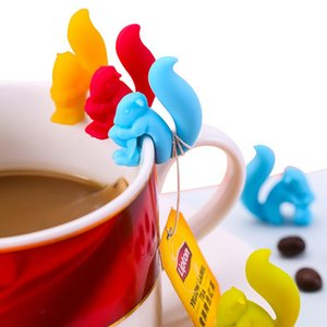 Taza de la taza linda forma de caracol ardilla té silicona titular bolsa bolsa de té clip colores del caramelo Juego de regalo Buena Tés Herramientas de Infuser del té RRA2742