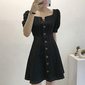 2020 New Vintage Chic Vestidos Square Collar Elegant A-line Summer Dress High Waist Buttons Puff Sleeve Dresses Women