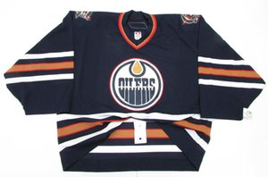 Cheap custom EDMONTON OILERS AWAY JERSEY GOALIE CUT 60 stitch add any number any name Mens Hockey Jersey