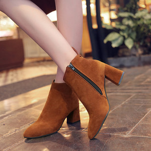 Plus Size 35-44 High Quality Fashion Winter Woman's Boots Solid Flock Square Heels Snow Boots for Ladies Elegant Ankle Boots MN582