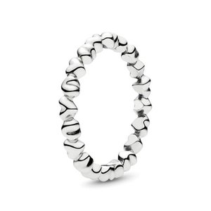 Authentic AlE 925 Sterling Silver Forever Love Stackable Heart Ring NEW Luxury Designer Jewelry Women Love Band Rings with Pandora Gift Box