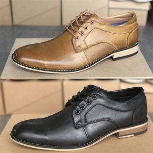 Diseñador Oxford zapatos de calidad superior Piel Negro vestido de boda formal Derby Zapatos de tacón bajo con cordones de zapatos de la oficina de negocios Tamaño 39-47