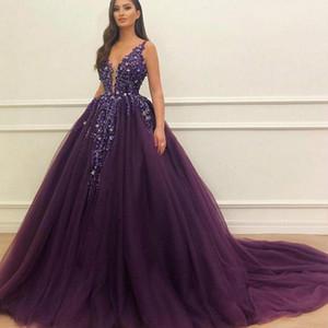 2020 Sexy Violet perlé robe de bal Quinceanera Robes Paillettes Appliques col en V profond Tulle Soirée Robes de bal robe