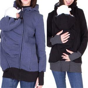 Pocket ile pregant Kadınlar Coat için Kapüşonlular Hamile + Bebek + Kapüşonlular 2019 Bebek Taşıyıcı Ceket Casual Sonbahar Kış Fermuar Coat
