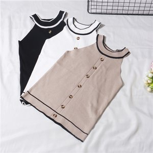 Summer Girls Fashion Slim Knitting Striped Tank Crop Tops Camises Girls Knitted Camisole Sleeveless Tee shirts Camis Woman