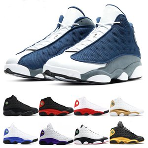 Para hombre Zapatos de la zapatilla de baloncesto 13s Flint CORTE REAL VIOLETA HYPER Ambiente Gris GATO NEGRO Una mala jugada para hombre tamaño de los deportes zapatillas de deporte 7-13