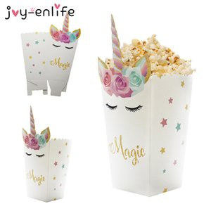 Cheap Gift Bags & Wrapping Supplies 6pcs Unicorn Popcorn Boxes DIY Birthday Party Decor Unicorn Theme Party Popcorn Bags Baby Shower