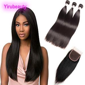 Pelo humano sin procesar peruano 3 paquetes con 4 * 4 Cierre de encaje con cabello bebé Productos rectos 8-30 pulgadas Color natural
