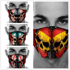 20pcs unisexe Drapeau fantôme Tête d'impression Masque Coton jeu poussière Halloween crâne cosplay masques visage Masquerade Party réutilisable Soins du visage