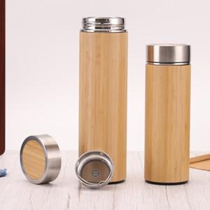 17 Unzen Bamboo Edelstahl Flaschen Bambusbecher mit Teesieb und Sieb Wasserflasche Vakuum-Insulated-Reise-Becher BH3711 TQQ