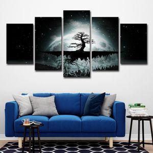 Wandkunst Leinwand Gemälde Wohnzimmer Dekor 5 Stücke Vollmond Baum Starry Night Bilder HD Druckt Abstrakte Poster