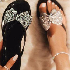 Summer New Women's Pinch Bow Flash Drill Sandals  slippers Women's Fashion Classic Wild Rhinestone Flip-flops Slipper Shoes