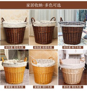 Dirty hamper rattan storage basket laundry basket dirty clothes rattan with ears dirty clothes storage basket laundry bucket b