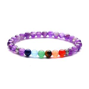 Signore 6mm Lava Rock 7 Chakra Charm energia di guarigione tratto braccialetto di pietra naturale Yoga Bracciale Perle