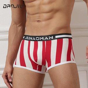 Roupa Moda Masculina DANJIU Man cintura baixa Stripe Boxer Shorts Cotton U Convex respirável Cuecas Masculinas calzoncillos