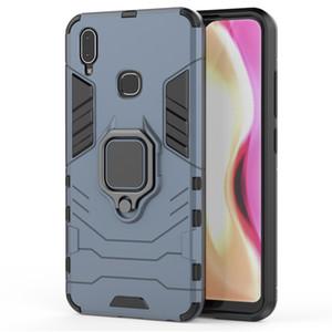 Luxe magnétique doigt RingHard Armure Téléphone cas pour VIVO Y91 Y95 U1 cas Annulaire Béquille support de couverture de cas