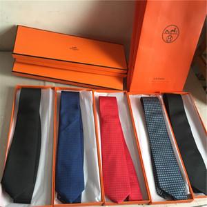 브랜드 새로운 남자의 넥타이 고전 원사 염색 실크 넥타이 7.5cm 패션 웨딩 넥타이 목에 넥타이 선물 상자 패키지
