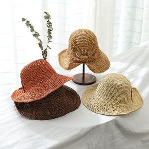 Femme Bow Straw Sun Cap Lady Mode vacances Respirant Caps Beach Voyage-soleil Chapeau Crème solaire Mer chapeaux de soleil LT-TTA583