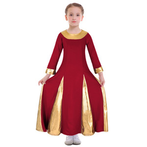 2019 New Kid Girls Praise Dress Metallic Lyrical Church Dance Ballet Long Maxi Dress Costume Gown Ball Dance Wear Ballet
